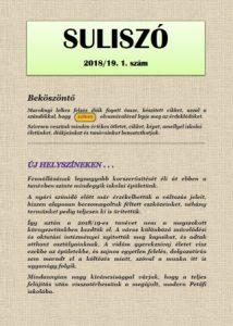 """""""SULISZÓ"""" Iskolaújság 2018/19. 1. szám"""