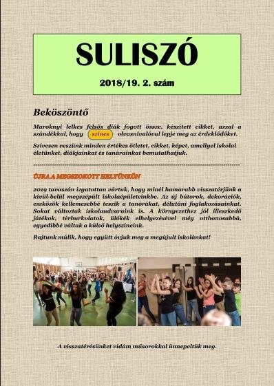 """""""SULISZÓ"""" Iskolaújság 2018/19. 2. szám"""